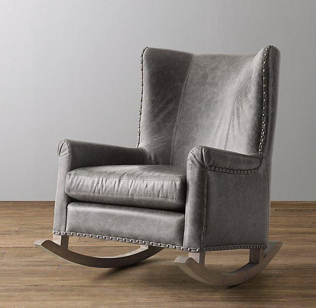 Superb Wingback Italian Milano Leather Nailhead Rocker Andrewgaddart Wooden Chair Designs For Living Room Andrewgaddartcom