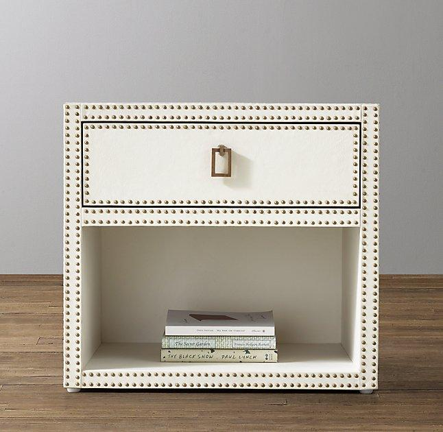 White Leather Studded Open Nightstand
