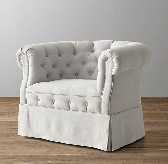 Tufted Tub Chair Cream Swivel Glider View Full Size