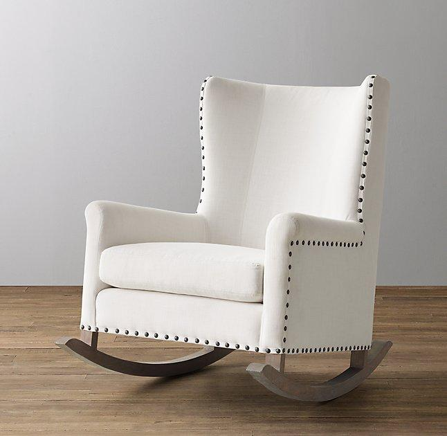 Wingback White Velvet Upholstered Nailhead Rocker