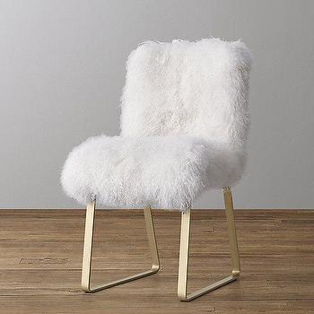 White Mongolian Lamb Aged Brass Base Butterfly Chair