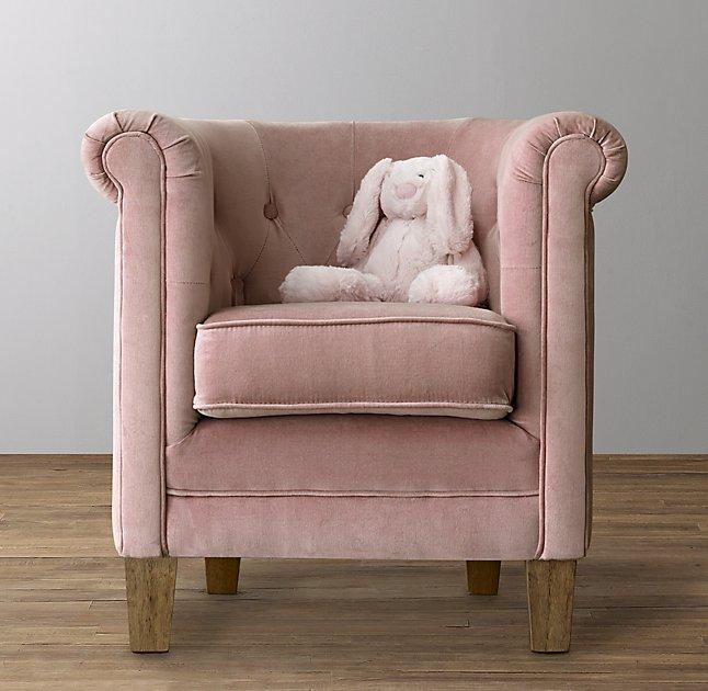 Mini Ondine Pink Velvet Salon Bench