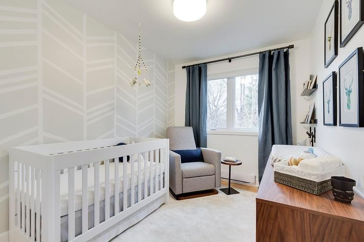 White And Blue Boy Nursery With Gray Painted Accent Wall