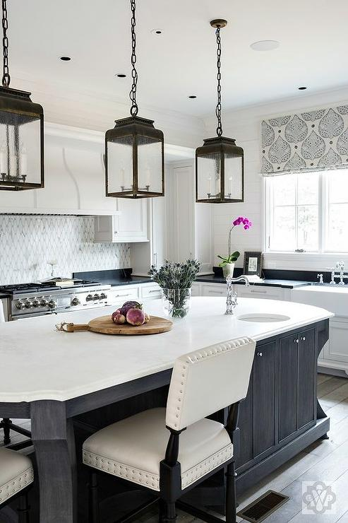 oval kitchen island black oval kitchen island with honed white marble countertops transitional kitchen 8001