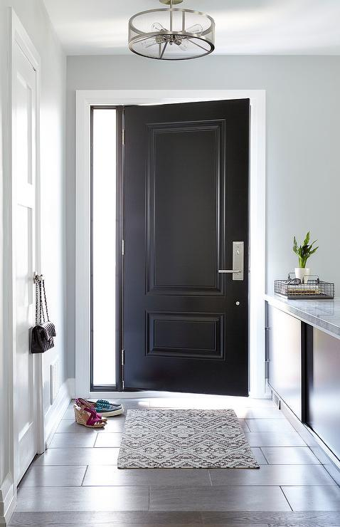 Blue Foyer Door : Blue foyer with closet door and gray