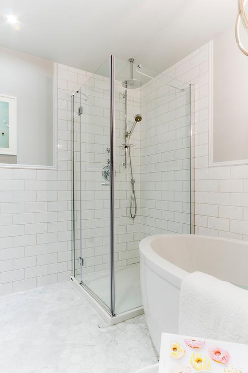 Corner Shower with White Herringbone Subway Tiles - Transitional ...