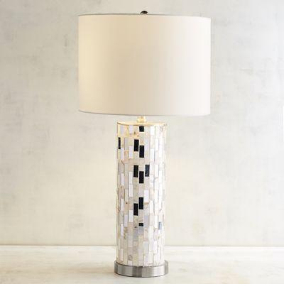 Glam mother of pearl table lamp aloadofball Choice Image