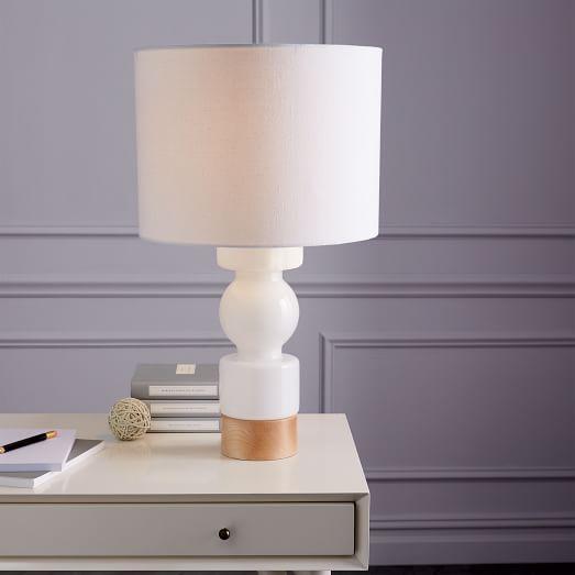 White Scandinavian Glass Table Lamp