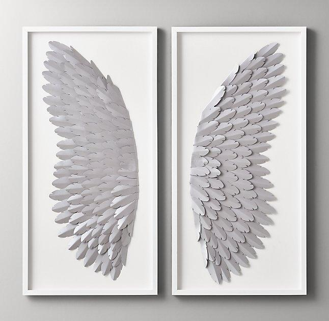 Pewter Hand Folded Paper Angel Wing Art