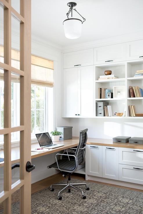 Wood Floating Desk Under Windows Transitional Entrance