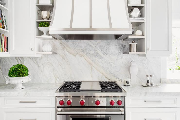 Kitchen Hood With Small Stainless Steel Shelves