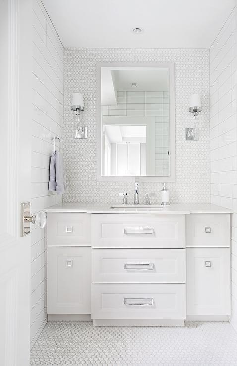 White Marble Hex Bathroom Wall Tiles With Light Gray