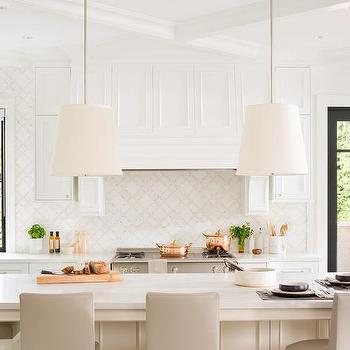 Genial Ivory Kitchen Island With Light Gray Upholstered Counter Stools
