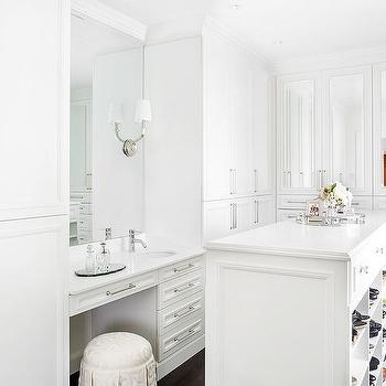 Built In Makeup Vanity Between Wardrobe Closets