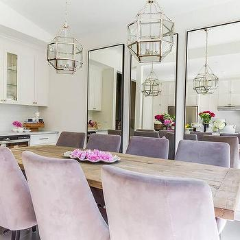 Salvaged Wood Dining Table with Purple Velvet Dining Chairs. Dining Room Mirrors Design Ideas