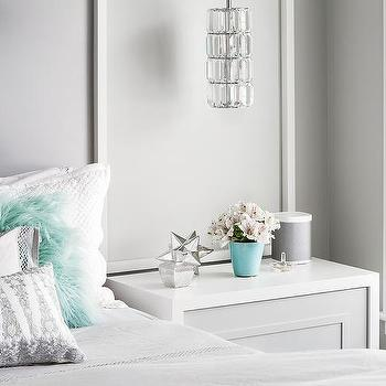 White And Gray Teen Girl Bedroom With Green Accents