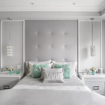 Tall Gray Tufted Built In Headboard