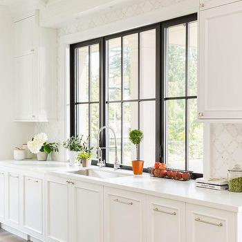 Black Framed Kitchen Window Design Ideas