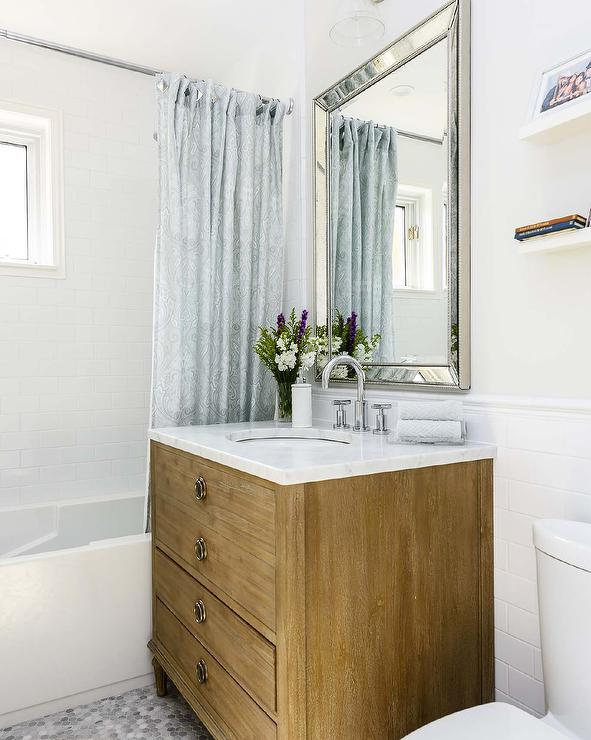 a beveled beaded mirror restoration hardware venetian beaded mirror stands over an antiqued gray french washstand maison vanity topped with carrera