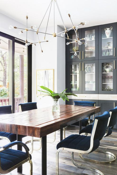 Alyssa Rosenheck: Sapphire Blue Velvet Channel Tufted Dining Chairs