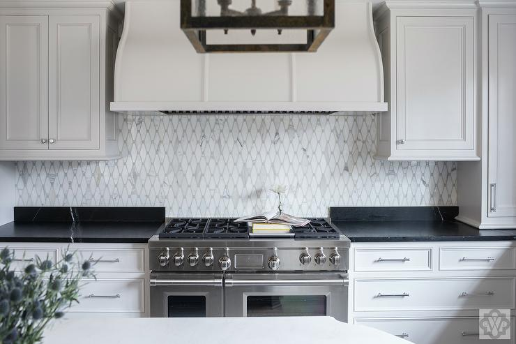 Soapstone Kitchen Countertops With White Marble Diamond Pattern Tiles
