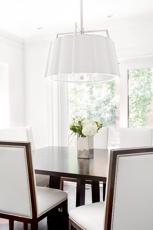 White Scalloped Drum Pendant Light With Brown Rectangular Dining Table Part 97