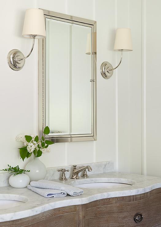 Beach Style Bathroom With Large Venetian Mirror Cottage Bathroom