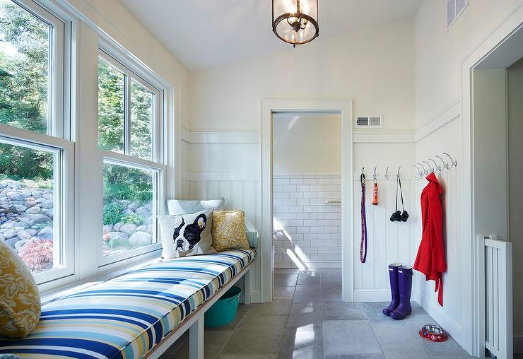 Mudroom with Shiplap Wall Trim and Coat Hooks - Transitional ...