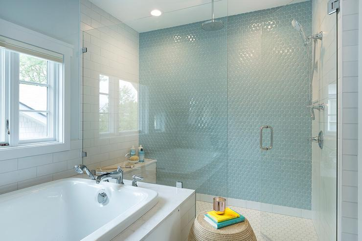 Boy Bathroom With Blue Hex Wall Tiles Transitional