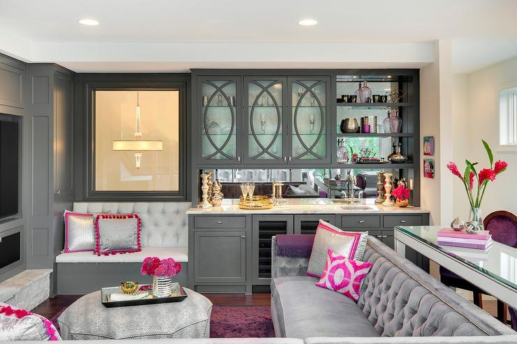 Pink And Gray Living Room With Gray Wet Bar