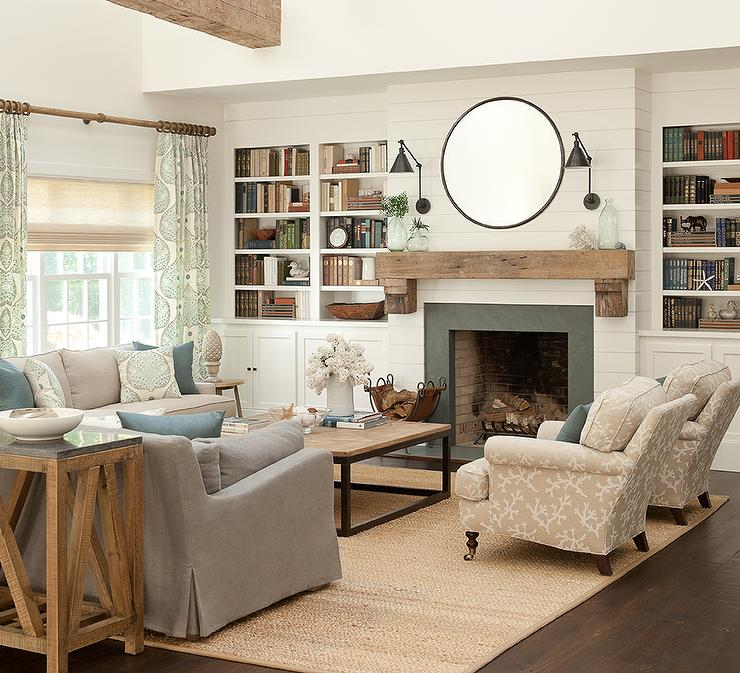 Delightful Cottage Living Room With Gray Slipcovered Sofas