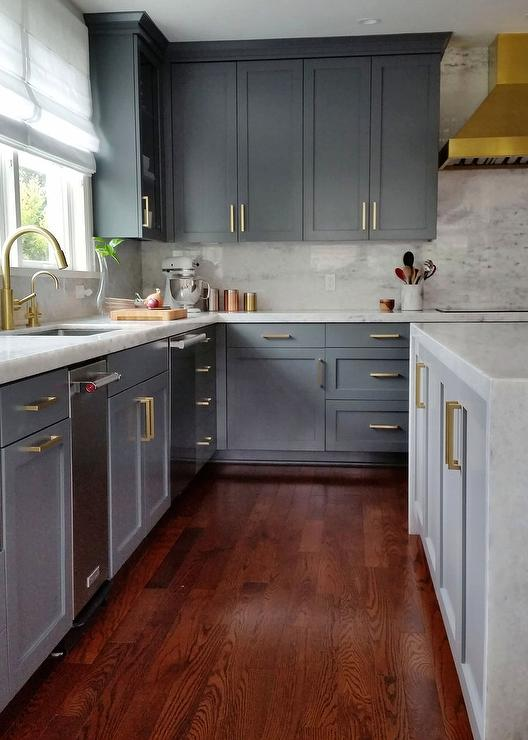 Dark Gray Kitchen Cabinets with Brass Pulls - Contemporary ...