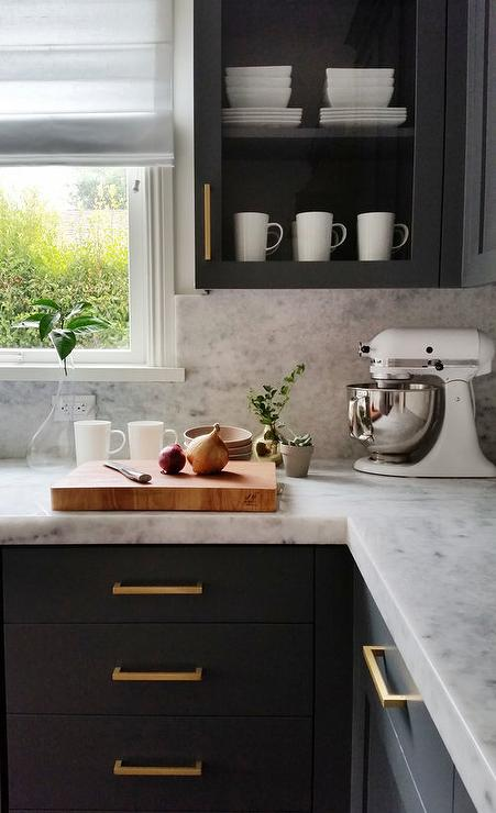 Dark Gray Cabinets With Marble Countertops And Backsplash - Gray cabinets with marble countertops