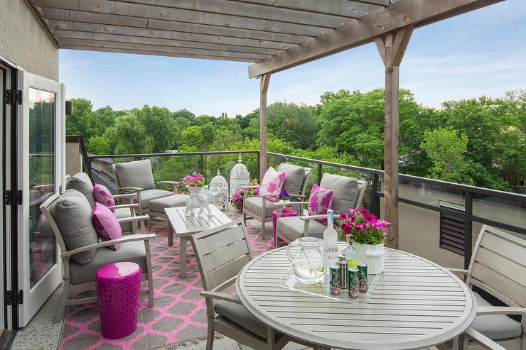Balcony with Gray Chairs and Hot Pink Pillows - Contemporary - Deck ...