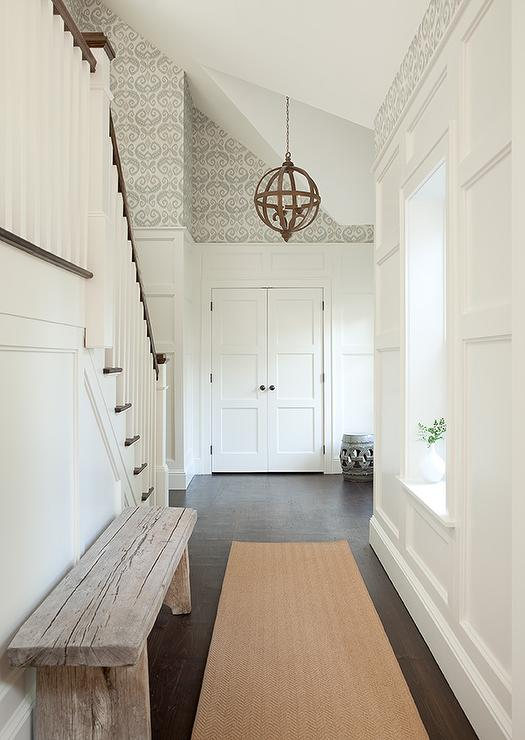 White And Gray Foyer With Double Door Coat Closet
