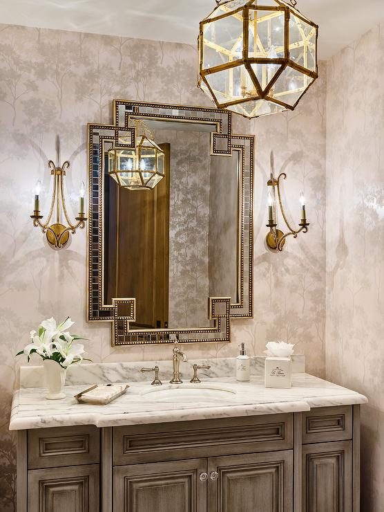 French Powder Room with Gold Beaded Mirror and French Sink Vanity ...