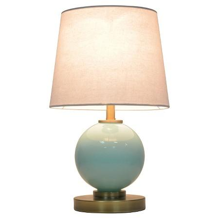 Aqua glass ball table lamp