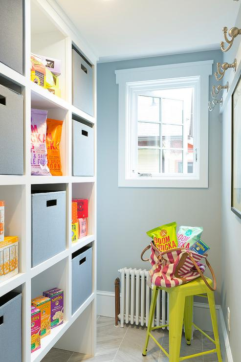 kitchen-pantry-built-in-shelving-unit-gray-bins Paint Kitchen Cabinets Design Ideas Red on red kitchen painting ideas, red kitchen paint color, red kitchen island,