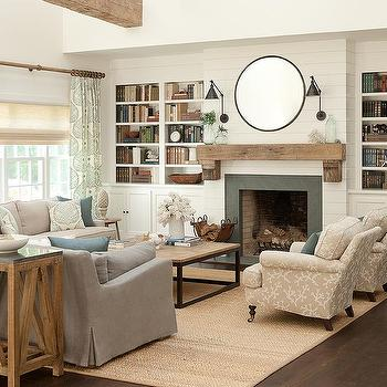 Cottage Living Room With Gray Slipcovered Sofas Part 98
