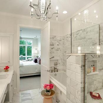 Gray And White Marble Beveled Subway Shower Wall Tiles Design Ideas