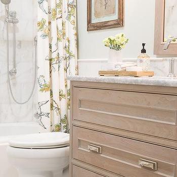Gray And Green Bathroom With Trellis Shower Curtain Contemporary Bathroom