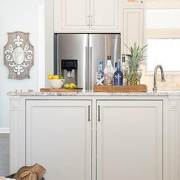 White Top Cabinets and Blue Bottom Cabinets - Transitional - Kitchen