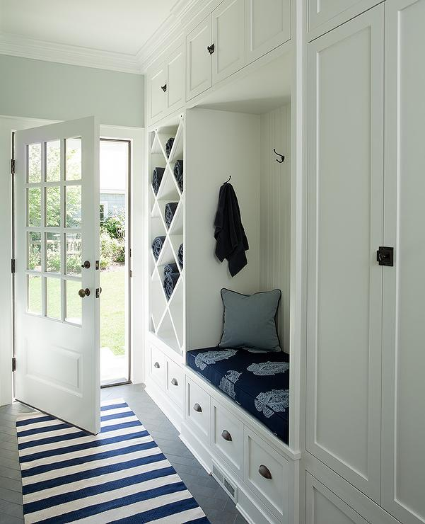 Mudroom Built In: White And Blue Long Mudroom With Gray Herringbone Tile