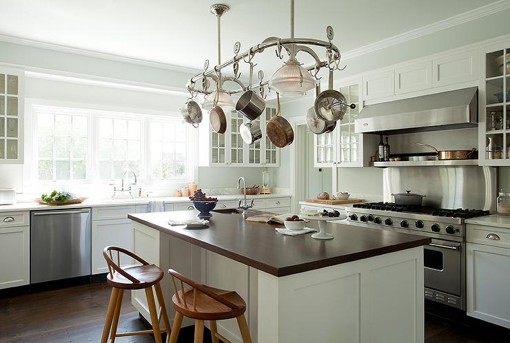 Pot Rack Over Island Cottage Kitchen Tim Barber