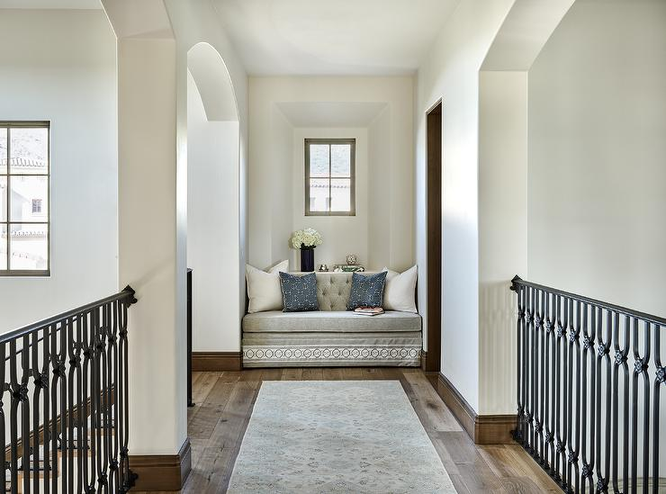 second floor landing with heather gray bench traditional