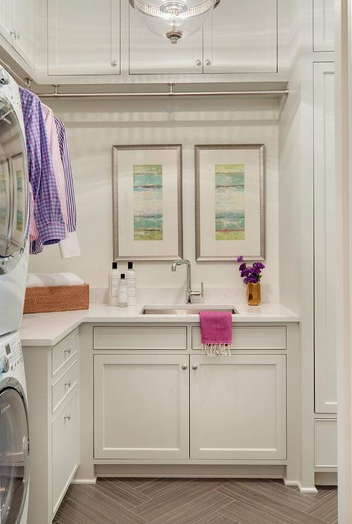 Laundry Room Cabinets With Built In Clothes Drying Rack