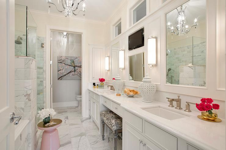 master bath makeup vanity with sheepskin and lucite stool