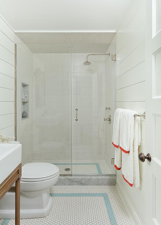 White Shiplap Bathroom With White Herringbone Floor Tiles