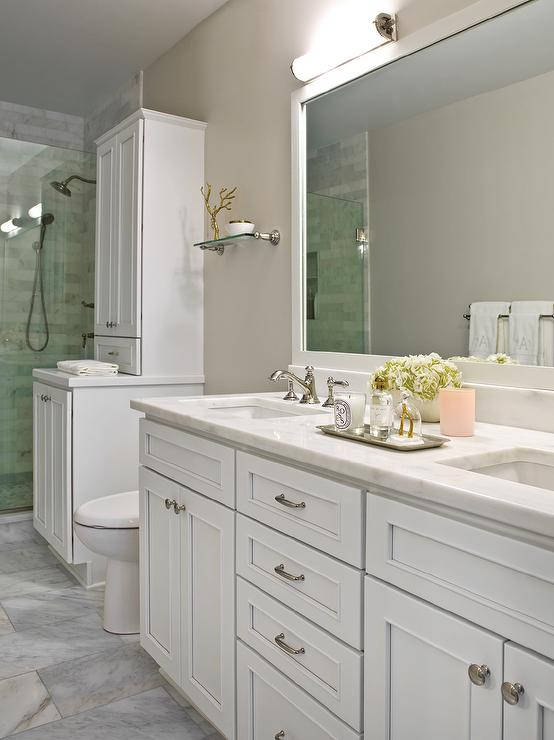White Bathroom Washstand With Beige Walls Transitional Bathroom
