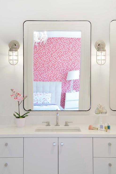 White Girl Bedroom with Cage Wall Sconces - Transitional - Bathroom